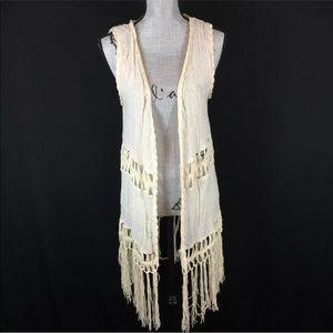 Say What? Boho Fringe Kimono Vest Top Sleeveless